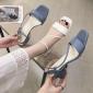 蓝色方头细带粗跟2019夏季时尚简约一字搭扣中跟女生防滑凉鞋